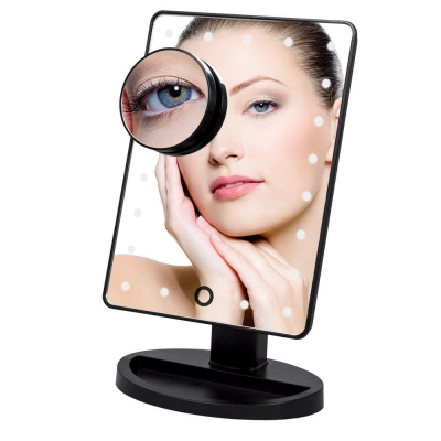 Makeup Mirror 16 LED Lighted Vanity Mirror with Touch Screen and Detachable 10X Magnifying Spot Mirror