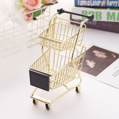 Cute Metal Shopping Cart Shaped Beauty Makeup Blender Sponge Holder Drying Rack Cosmetic Powder Puff Display Stand